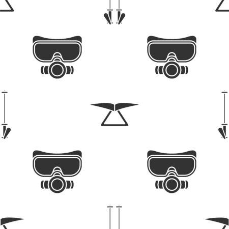 Set Ski poles, Hang glider and Diving mask on seamless pattern. Vector 일러스트