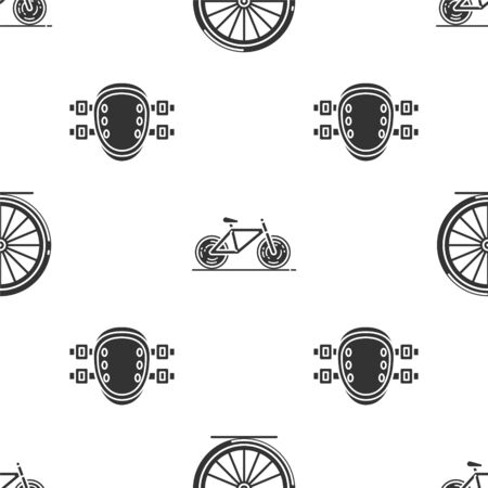 Set Bicycle wheel, Bicycle and Knee pads on seamless pattern. Vector