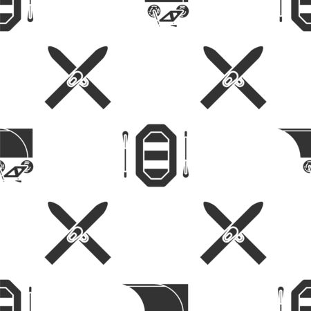 Set Bicycle on street ramp, Rafting boat and Ski and sticks on seamless pattern. Vector