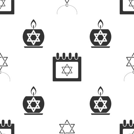 Set Star of David necklace on chain, Jewish calendar with star of david and Burning candle in candlestick with star of david on seamless pattern. Vector