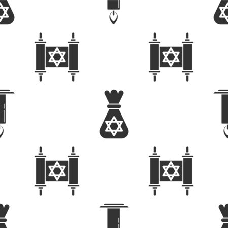 Set Burning candle in candlestick, Jewish money bag with star of david and Torah scroll on seamless pattern. Vector