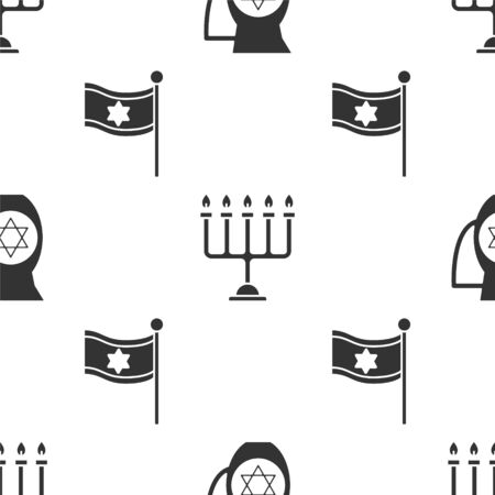Set Decanter with star of david, Hanukkah menorah and Flag of Israel on seamless pattern. Vector