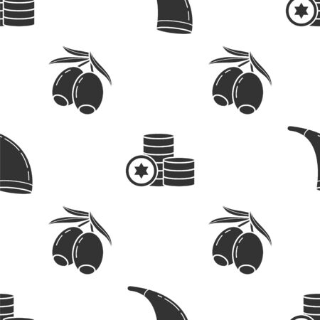 Set Traditional ram horn, shofar, Jewish coin and Olives branch on seamless pattern. Vector