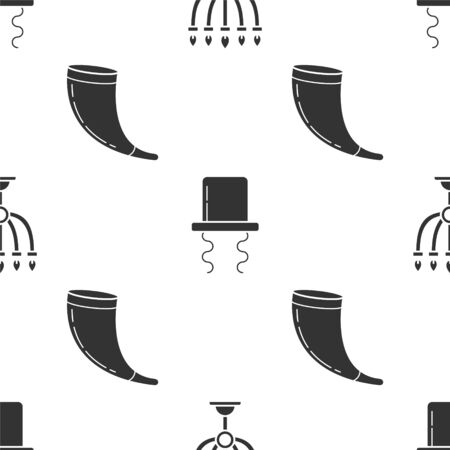 Set Hanukkah menorah, Orthodox jewish hat with sidelocks and Traditional ram horn, shofar on seamless pattern. Vector