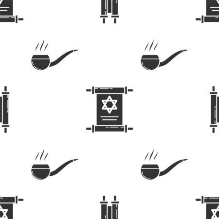 Set Torah scroll, Torah scroll and Smoking pipe with smoke on seamless pattern. Vector Ilustração