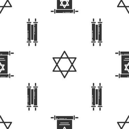 Set Torah scroll, Star of David and Torah scroll on seamless pattern. Vector