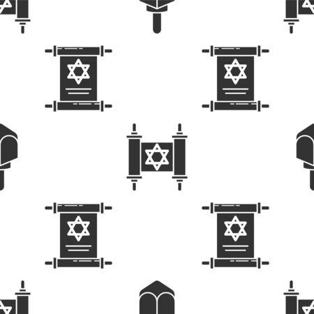 Set Hanukkah dreidel, Torah scroll and Torah scroll on seamless pattern. Vector Ilustração