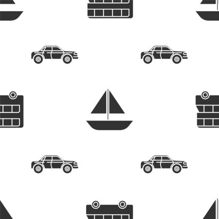Set Double decker bus, Yacht sailboat or sailing ship and Sedan car on seamless pattern. Vector Stock Illustratie
