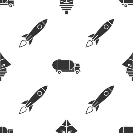 Set Cargo ship, Tanker truck and Rocket ship with fire on seamless pattern. Vector