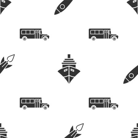 Set Rocket ship with fire, Cargo ship and School Bus on seamless pattern. Vector