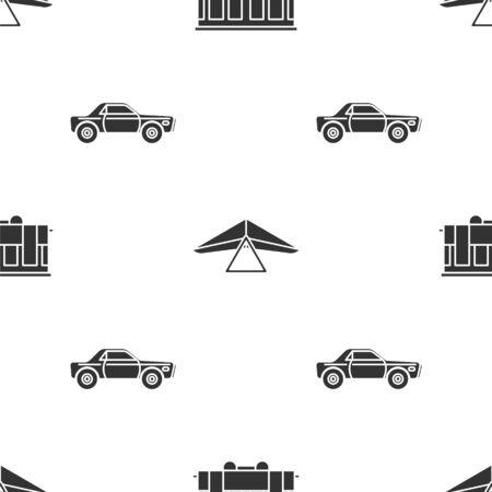 Set Old city tram, Hang glider and Sedan car on seamless pattern. Vector