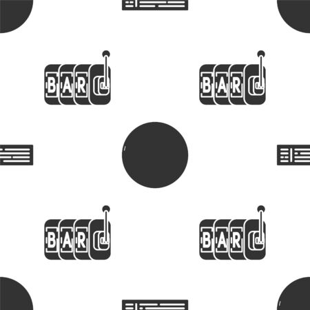 Set Deck of playing cards, Casino roulette wheel and Slot machine on seamless pattern. Vector