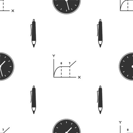 Set Clock, Pie chart infographic and Pen on seamless pattern. Vector Illustration