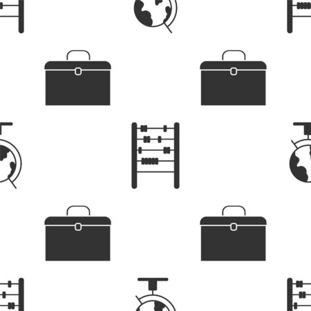 Set Earth globe, Abacus and Briefcase on seamless pattern. Vector