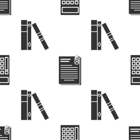 Set Calculator, File document and paper clip and Office folders with papers and documents on seamless pattern. Vector