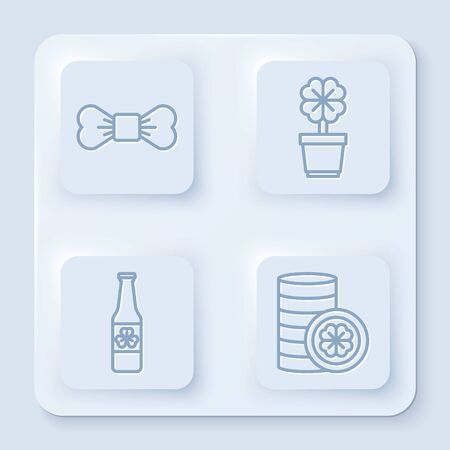 Set line Bow tie, Four leaf clover in pot, Beer bottle with four leaf clover and Gold coin with four leaf clover. White square button. Vector Illustration