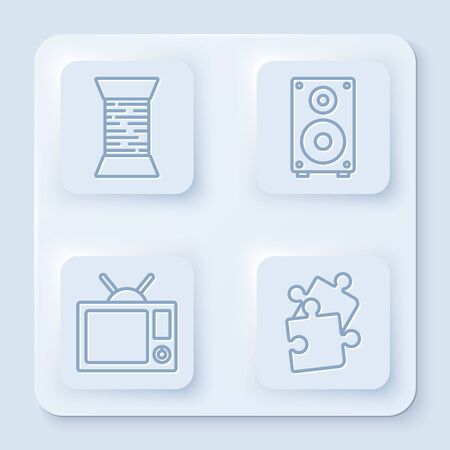 Set line Sewing thread on spool, Stereo speaker, Television and Piece of puzzle. White square button. Vector Иллюстрация