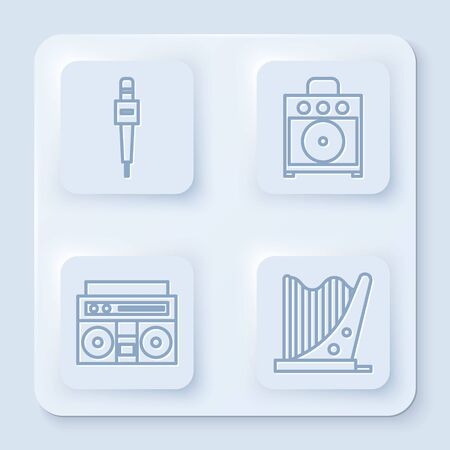 Set line Microphone, Guitar amplifier, Home stereo with two speakers and Harp. White square button. Vector