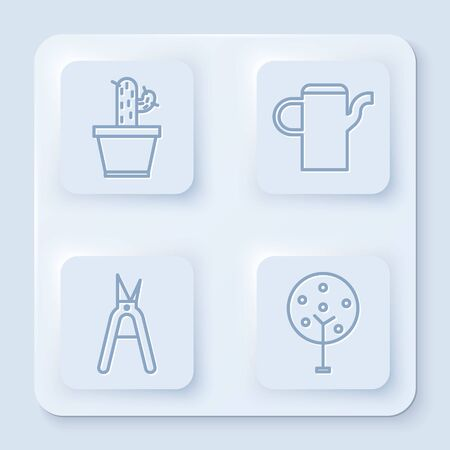 Set line Cactus and succulent in pot, Watering can, Gardening handmade scissors and Tree. White square button. Vector