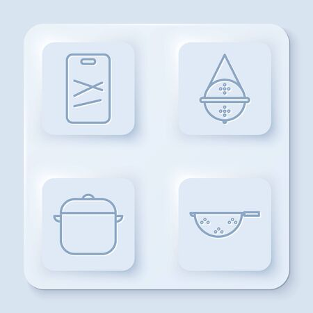 Set line Cutting board, Ball tea strainer, Cooking pot and Kitchen colander. White square button. Vector