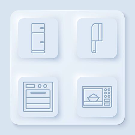 Set line Refrigerator, Meat chopper, Oven and Microwave oven. White square button. Vector Illustration