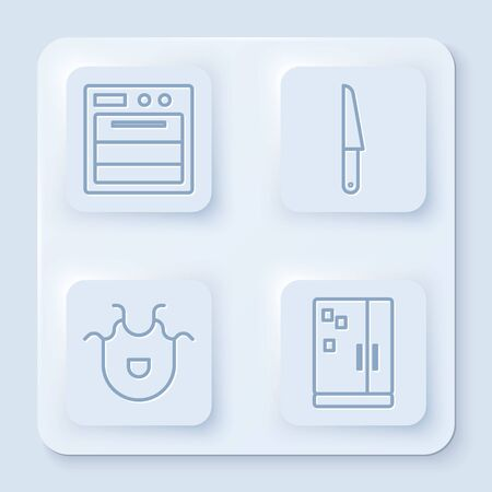 Set line Oven, Knife, Kitchen apron and Refrigerator. White square button. Vector Illustration
