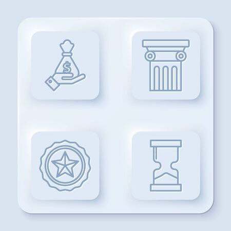 Set line Hand holding money bag, Law pillar, Police badge and Old hourglass. White square button. Vector