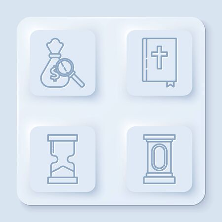 Set line Money bag and magnifying glass, Holy bible book, Old hourglass and Stage stand or debate podium rostrum. White square button. Vector
