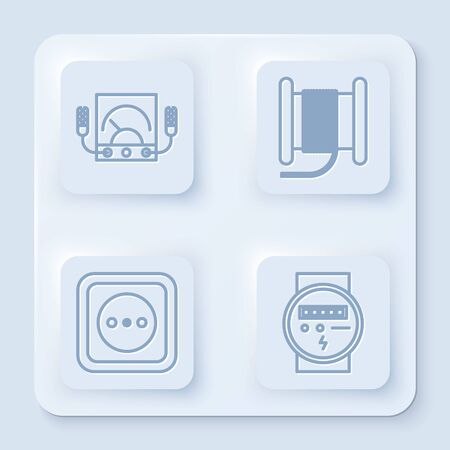 Set line Ampere meter, multimeter, voltmeter, Wire electric cable on a reel or drum, Electrical outlet and Electric meter. White square button. Vector Vector Illustration