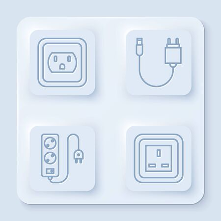 Set line Electrical outlet in the USA, Charger, Electric extension cord and Electrical outlet. White square button. Vector