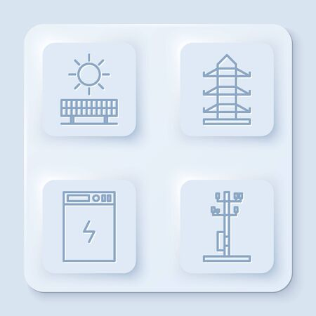 Set line Solar energy panel and sun, High voltage power pole line, Power bank and High voltage power pole line. White square button. Vector