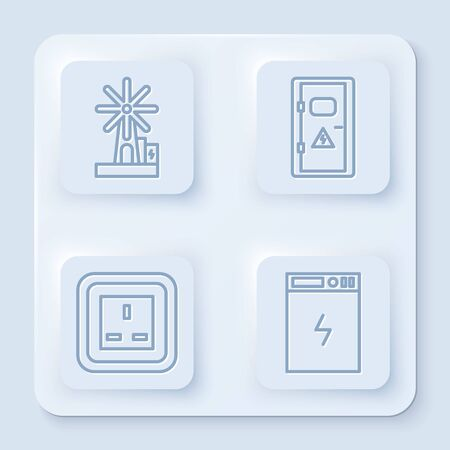 Set line Wind turbine, Electrical cabinet, Electrical outlet and Power bank. White square button. Vector