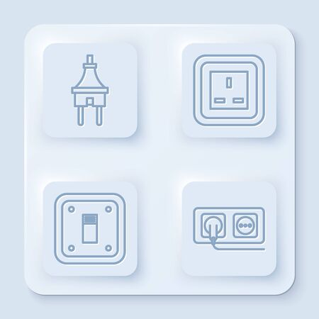 Set line Electric plug, Electrical outlet, Electric light switch and Electrical outlet. White square button. Vector Stock Illustratie