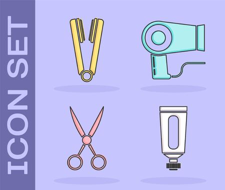 Set Cream or lotion cosmetic tube, Curling iron for hair, Scissors hairdresser and Hair dryer icon. Vector Stock Illustratie