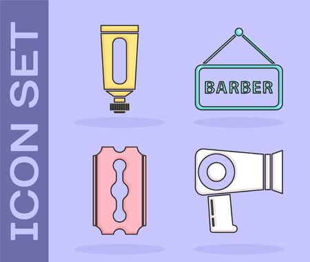 Set Hair dryer, Cream or lotion cosmetic tube, Blade razor and Barbershop icon. Vector Stockfoto - 139339054