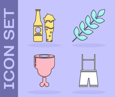 Set Lederhosen, Beer bottle and glass, Chicken leg and Cereals set with rice, wheat, corn, oats, rye, barley icon. Vector