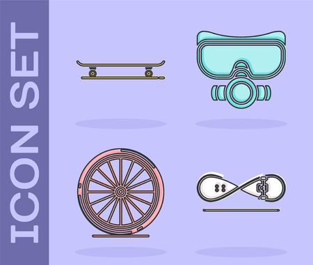 Set Skateboard trick, Skateboard, Bicycle wheel and Diving mask icon. Vector