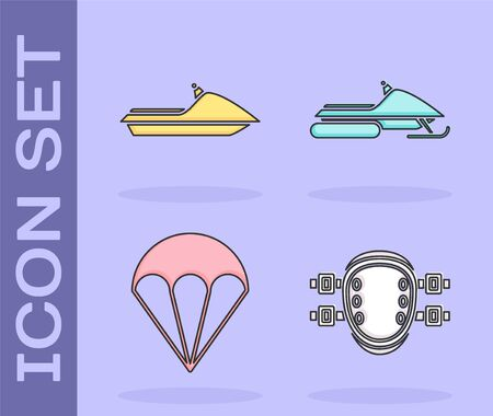 Set Knee pads, Jet ski, Parachute and Snowmobile icon. Vector Vettoriali