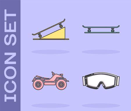 Set Ski goggles, Skateboard on street ramp, All Terrain Vehicle or ATV motorcycle and Skateboard icon. Vector