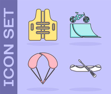 Set Rafting boat, Life jacket, Parachute and Bicycle on street ramp icon. Vector