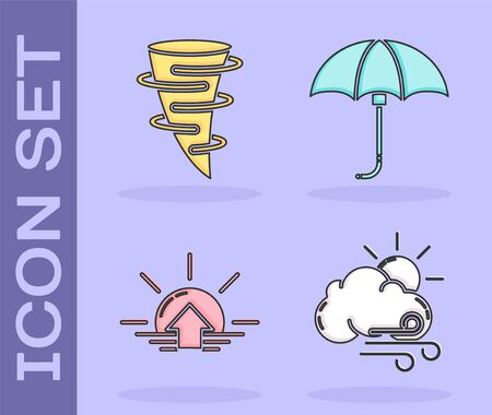 Set Windy weather, Tornado, Sunrise and Classic elegant opened umbrella icon. Vector
