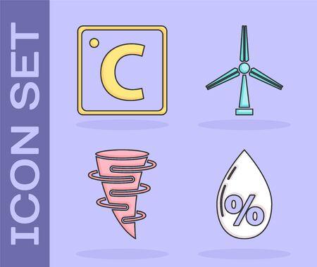 Set Water drop percentage, Celsius, Tornado and Wind turbine icon. Vector 向量圖像