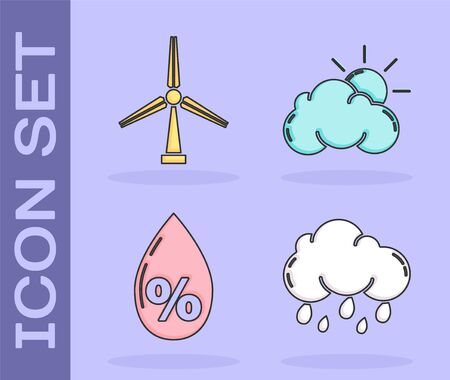 Set Cloud with rain, Wind turbine, Water drop percentage and Sun and cloud weather icon. Vector 向量圖像