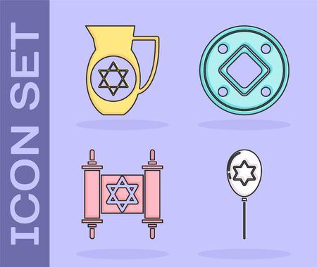 Set Balloons with ribbon with star of david, Decanter with star of david, Torah scroll and Jewish coin icon. Vector