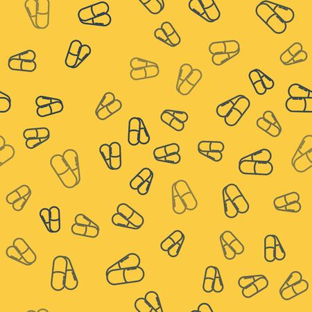 Blue line Dog and pills icon isolated seamless pattern on yellow background. Prescription medicine for animal. Vector Illustration