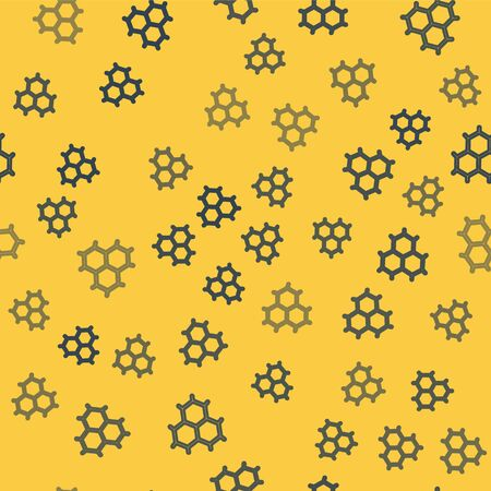 Blue line Chemical formula consisting of benzene rings icon isolated seamless pattern on yellow background. Vector Illustration  イラスト・ベクター素材