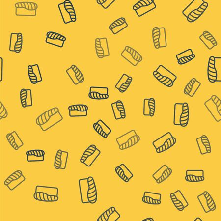 Blue line Sushi icon isolated seamless pattern on yellow background. Traditional Japanese food. Vector Illustration 向量圖像