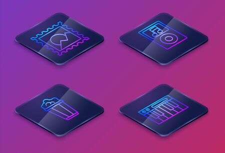 Set Isometric line Picture landscape, Popcorn in cardboard box, Music player and Music synthesizer. Blue square button. Vector