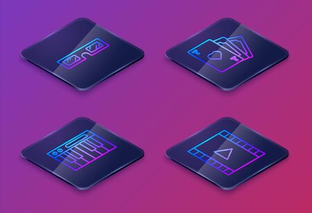Set Isometric line 3D cinema glasses, Music synthesizer, Playing card with heart symbol and Play Video. Blue square button. Vector Vectores