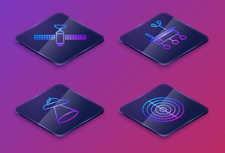 Set Isometric line Satellite, UFO flying spaceship, Mars rover and Earth structure. Blue square button. Vector
